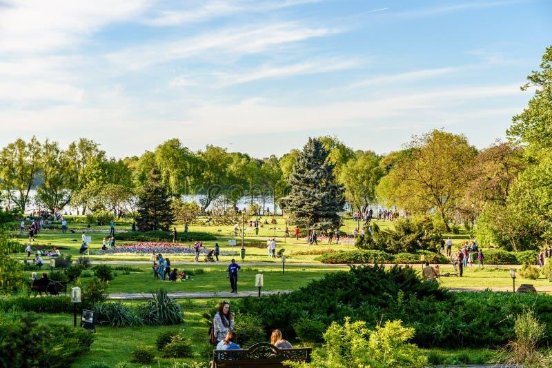 La gente divertendosi nel parco pubblico di Herastrau il giorno di primavera immagini stock libere da diritti