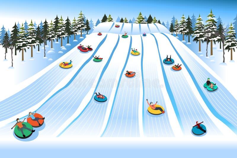 La gente divertendosi Sledding sulla collina della tubatura durante l'inverno illustrazione di stock
