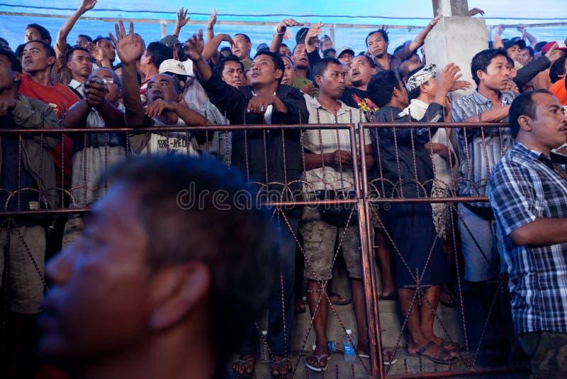 La gente durante il cockfighting di balinese immagini stock