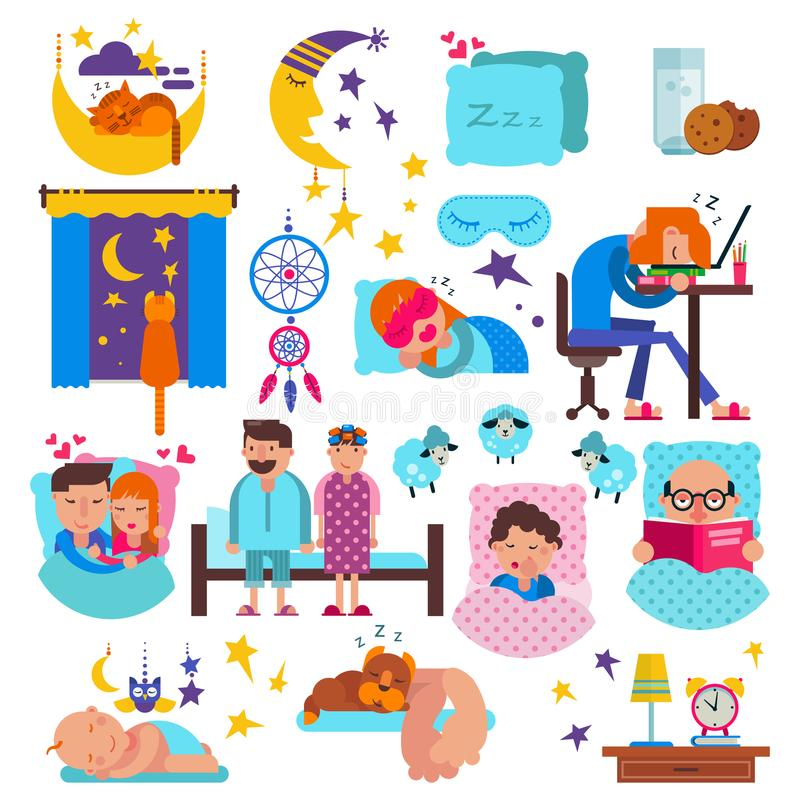 La gente durmiente vector personajes de dibujos animados soñolientos y los animales domésticos duermen en la almohada en el siste ilustración del vector