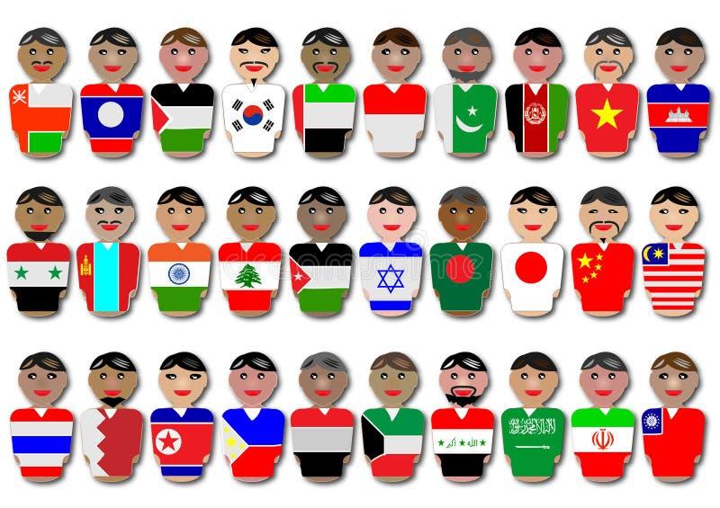 La gente e bandierine dall'Asia illustrazione vettoriale