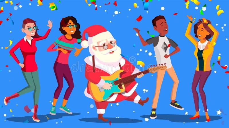La gente e chitarra di Santa Claus Dancing With Group Of in mani Divertendosi all'ufficio corporativo Manifesto della festa di Na illustrazione vettoriale