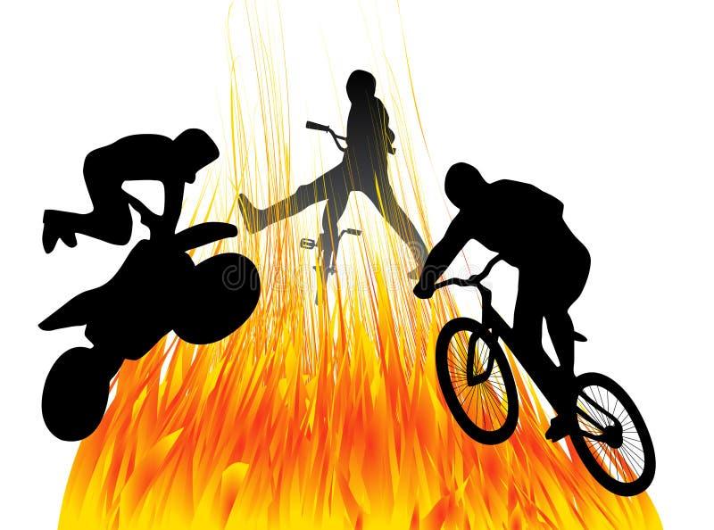 Download La gente e fuoco illustrazione vettoriale. Illustrazione di bici - 7307169