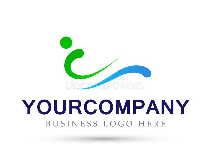 La gente e l'onda hanno modellato il segno dell'elemento dell'icona di logo di concetto della società su fondo bianco illustrazione di stock