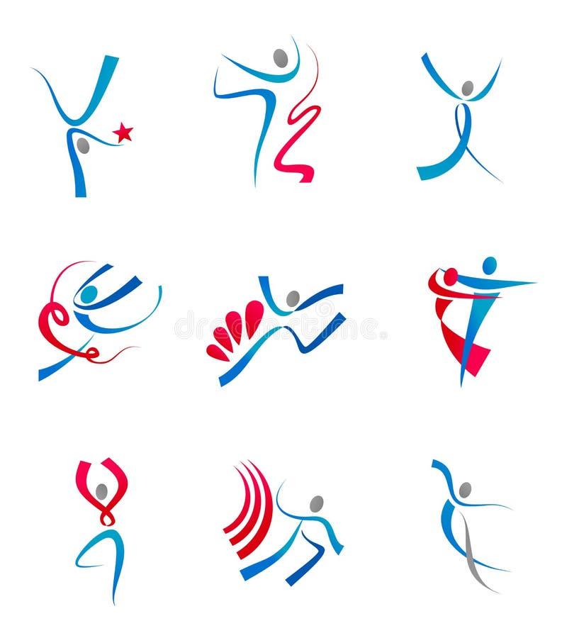 La gente e sportsmens di Dancing illustrazione vettoriale