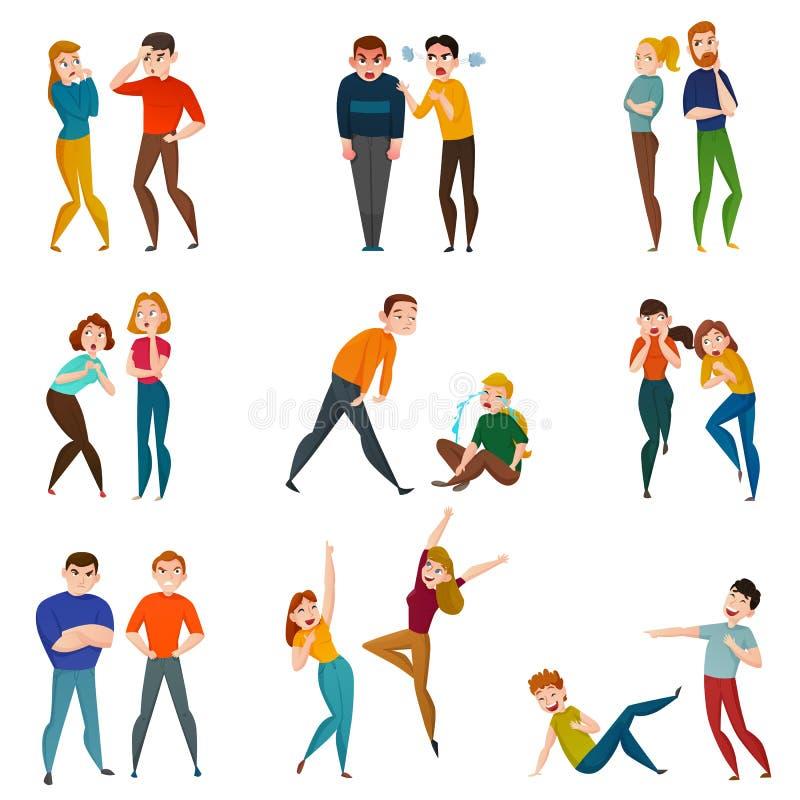 La gente ed icone di emozioni messe illustrazione vettoriale