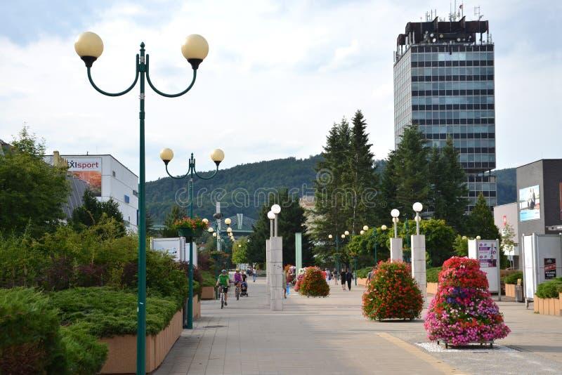 La gente en centro de ciudad disfruta del día agradable, alto edificio administrativo de Agencias Estatales en fondo fotos de archivo