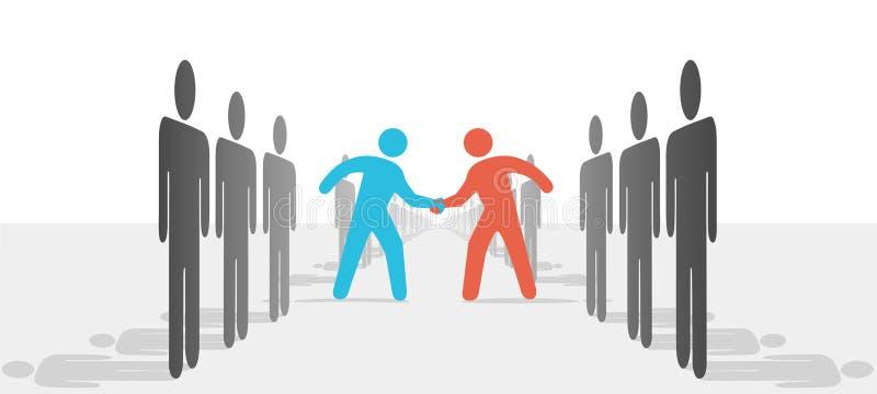 La gente en dos caras acuerda repartir sacude las manos ilustración del vector
