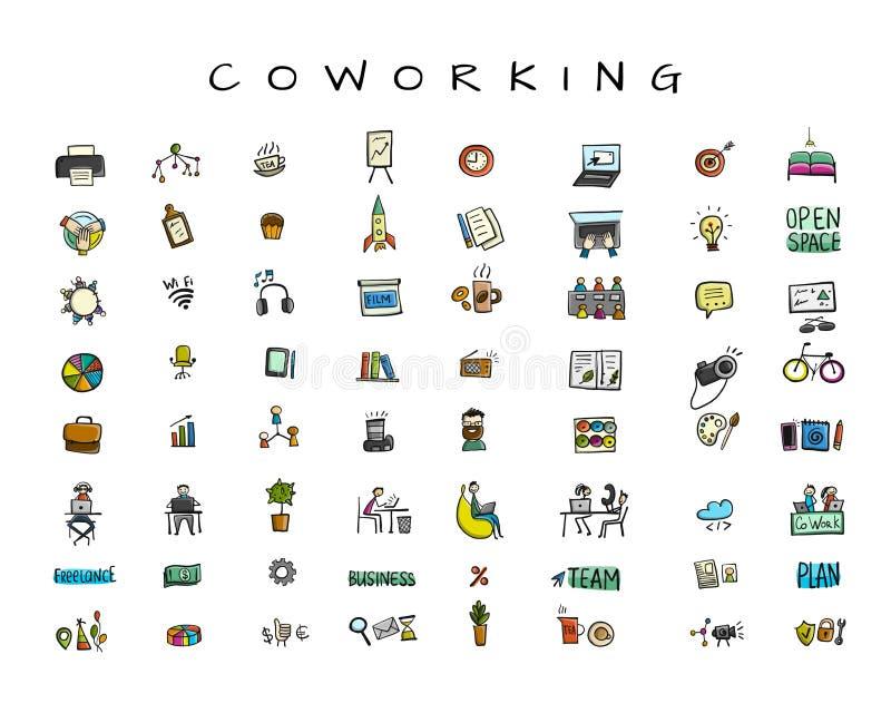 La gente en oficina coworking, iconos fijó para su diseño libre illustration