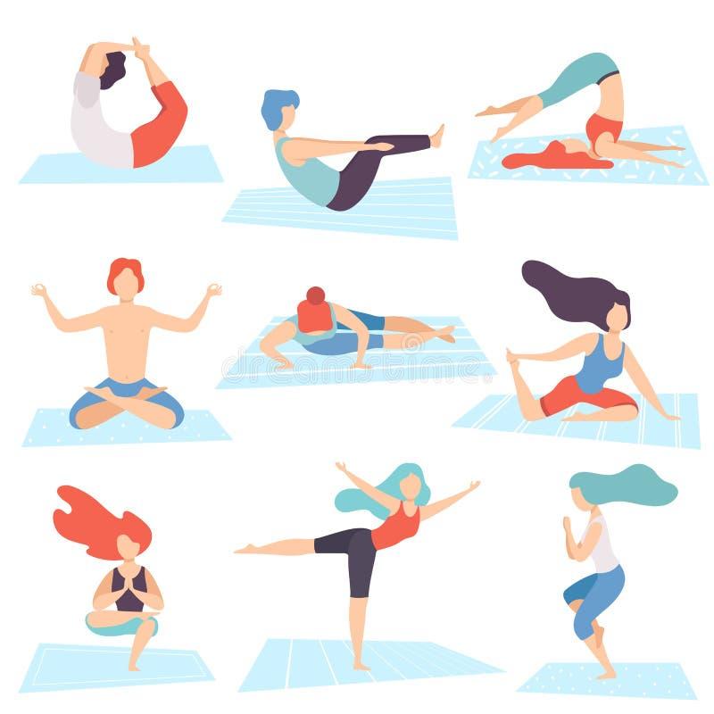 La gente en posiciones de la yoga fijó, los hombres y las mujeres que practicaban Asana y que realizaban ejercicios de la yoga y  stock de ilustración