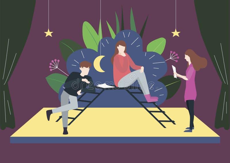 La gente en thetre del drama ensaya sus papeles en una etapa libre illustration