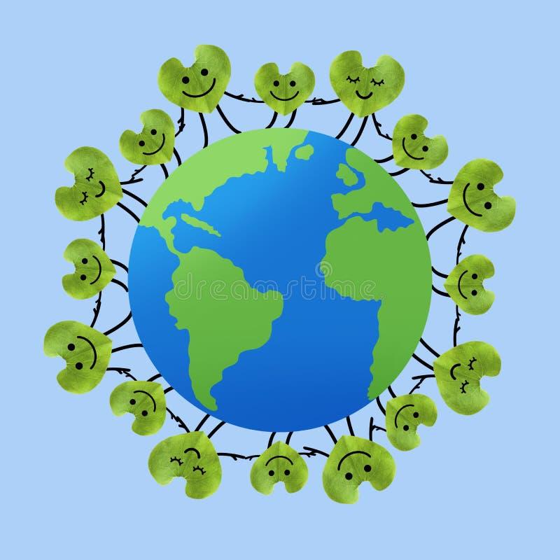 La gente en todo el mundo que lleva a cabo las manos, ahorra el planeta y la unidad fotos de archivo libres de regalías