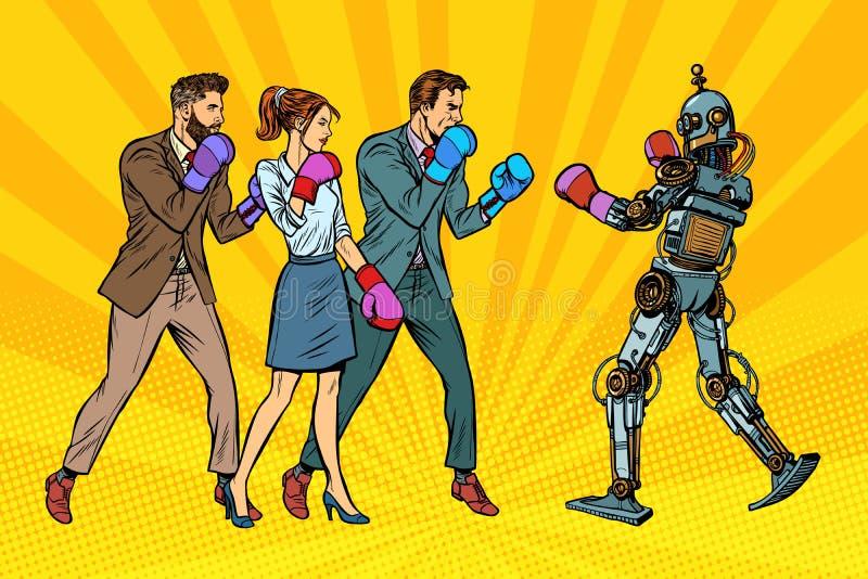 La gente encajona con un robot Humanidad y nuevas tecnologías ilustración del vector