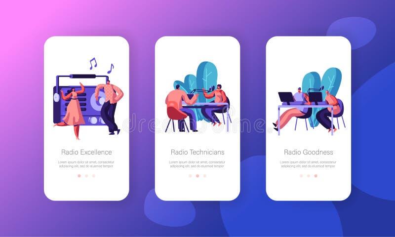 La gente escucha y trabaja en el concepto de radio para la difusión de la página web o de la página web, de la música y de las no libre illustration
