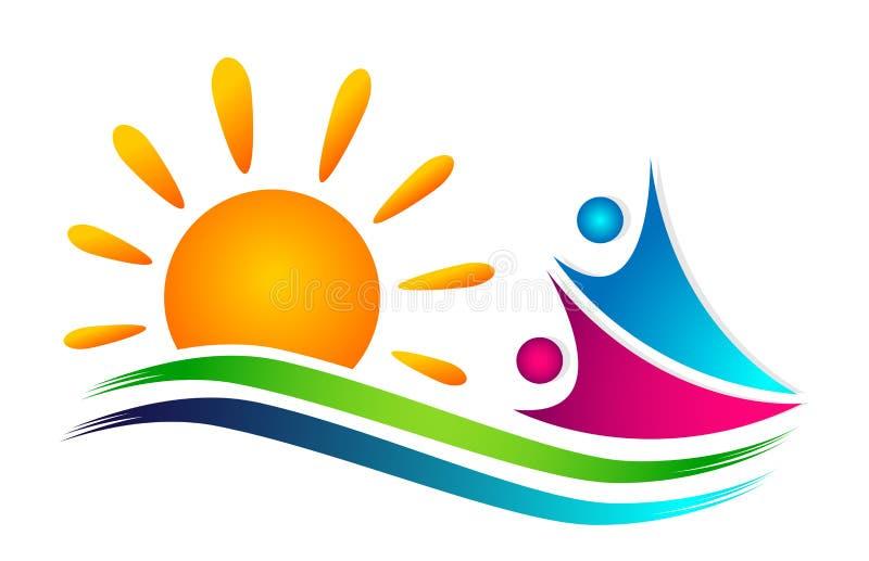 La gente espone al sole le progettazioni di nuoto di conquista di vettore dell'icona di benessere della celebrazione del lavoro d illustrazione di stock