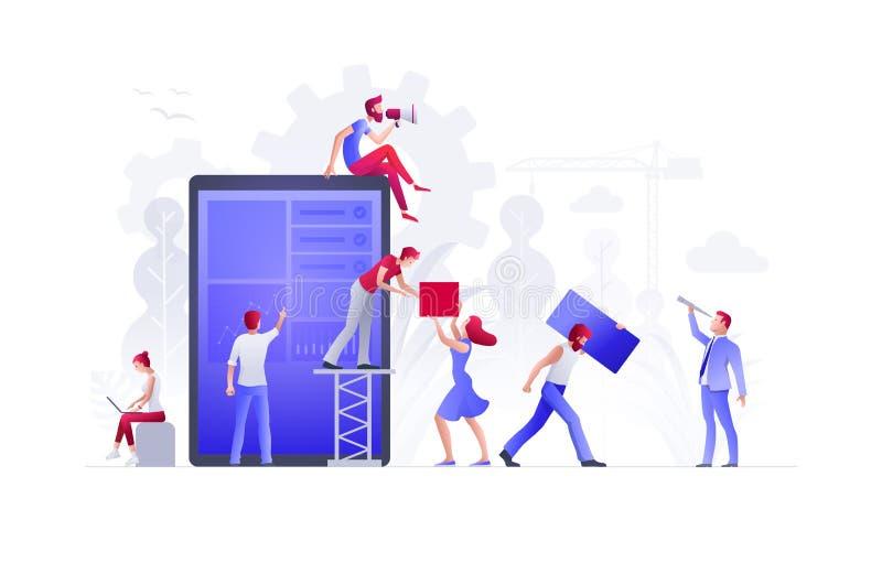 La gente está construyendo un nuevo negocio en Internet stock de ilustración