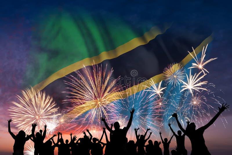 La gente está mirando en los fuegos artificiales y la bandera de Tanzania ilustración del vector
