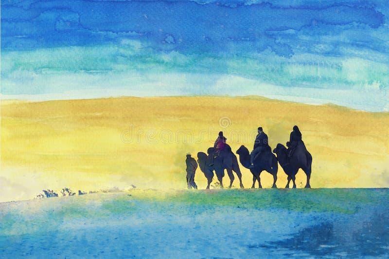 La gente está montando camellos en un desierto libre illustration