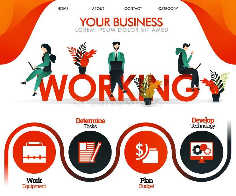 La gente está trabajando en la palabra FUNCIONAMIENTO puede utilizar para, página el aterrizaje, plantilla, ui, web, app móvil, c ilustración del vector
