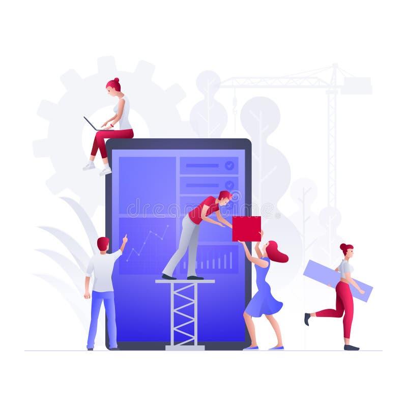 La gente est? construyendo un nuevo negocio en Internet stock de ilustración