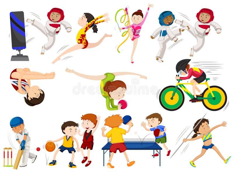 La gente fa i tipi differenti di sport illustrazione vettoriale