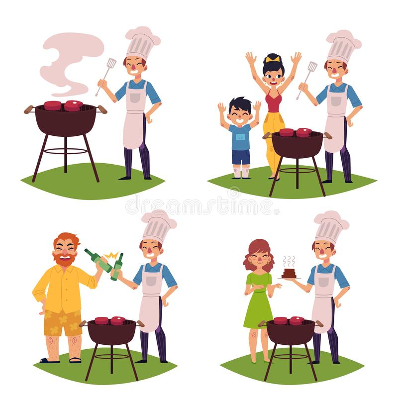 La gente fa il BBQ, arrostisce col barbecue, cucina la carne sulla griglia illustrazione di stock