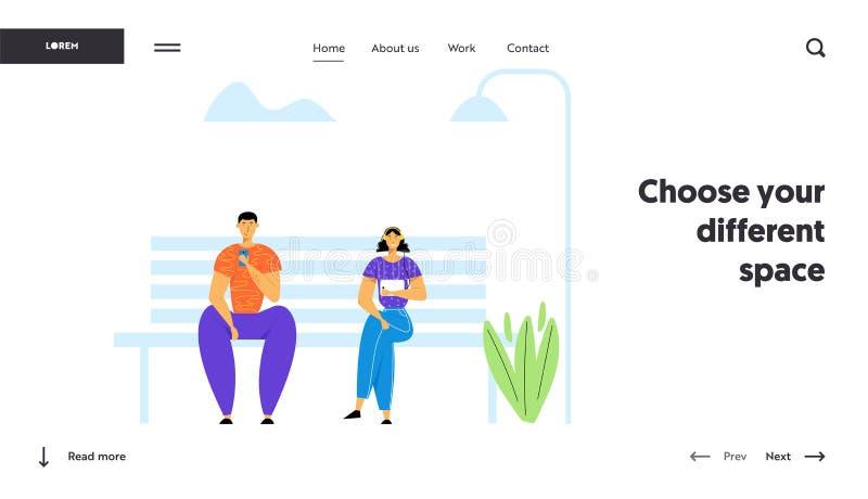 La gente facendo uso degli aggeggi, chiacchieranti nelle reti sociali di media Uomo e donna che comunicano con i dispositivi mobi royalty illustrazione gratis