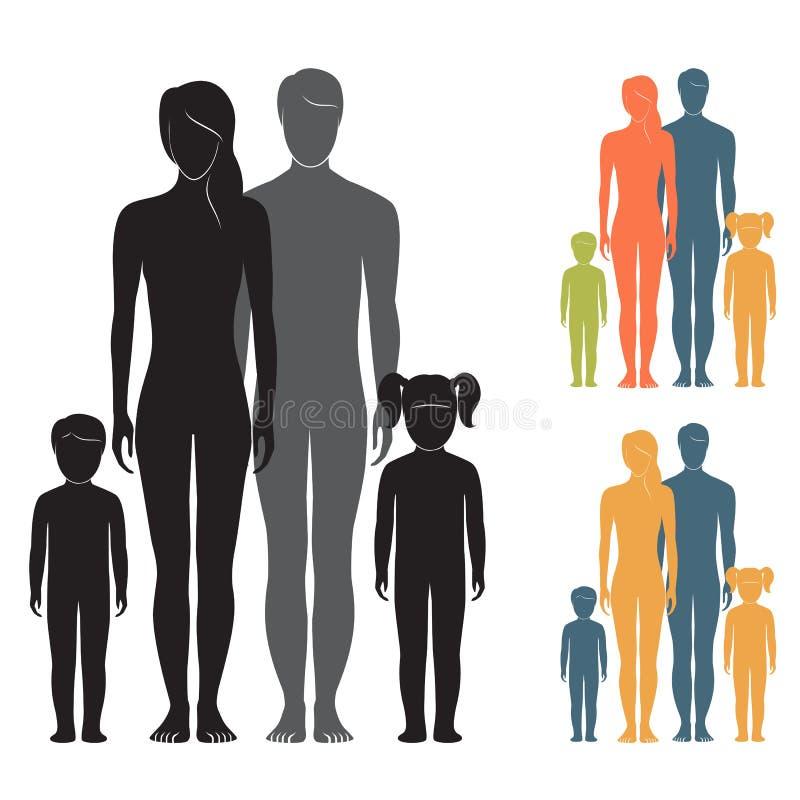La gente Famiglia della siluetta Genitori e bambini royalty illustrazione gratis