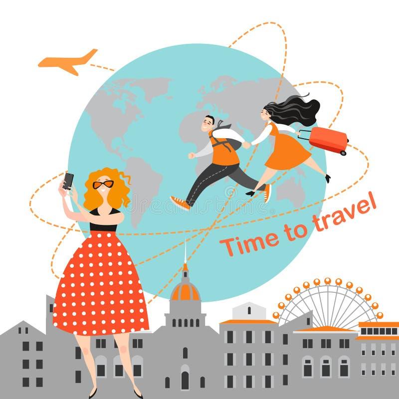 La gente feliz viaja junta diversos lugares que visitan La muchacha de la historieta hace el selfie libre illustration