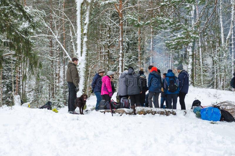 La gente in foresta su orario invernale immagine stock