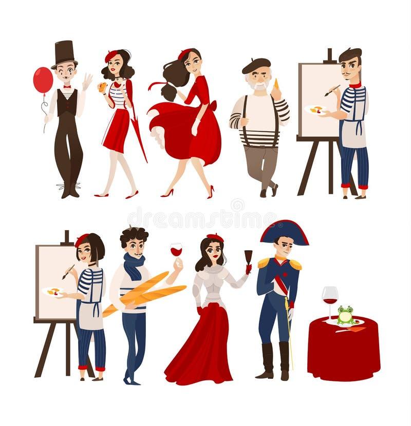 La gente francesa, imita, los artistas, figuras históricas libre illustration