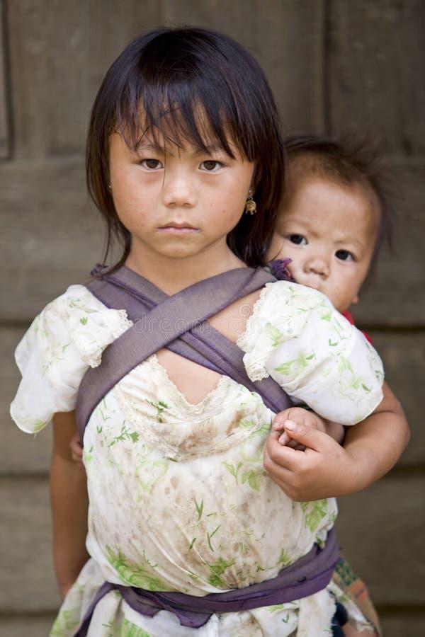 La gente, fratelli e sorelle di Hmong nel Laos fotografia stock