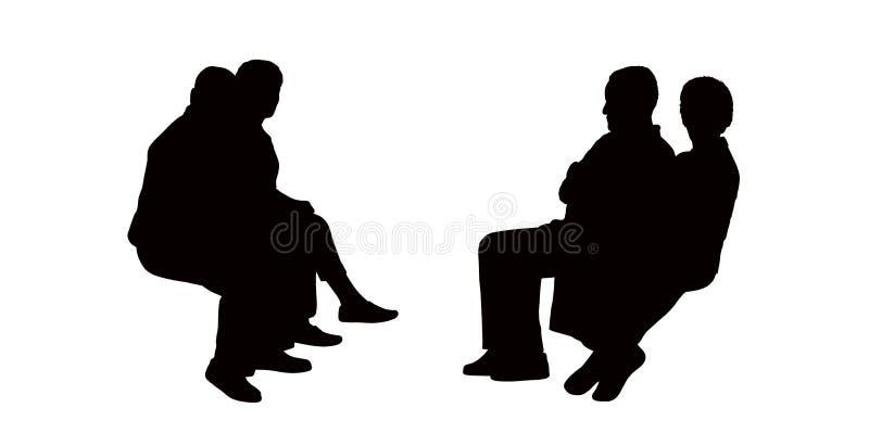 La gente ha messo le siluette a sedere all'aperto ha messo 11 illustrazione vettoriale
