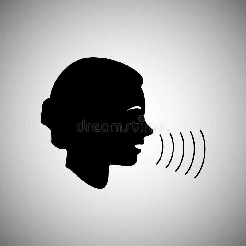 La gente habla o canta Silueta de la cara de una persona Icono del vector aislado en fondo ligero Elemento del diseño para sus id ilustración del vector