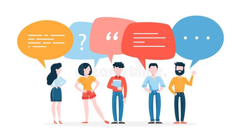 La gente habla usando burbuja del discurso Grupo de hombres de negocios libre illustration