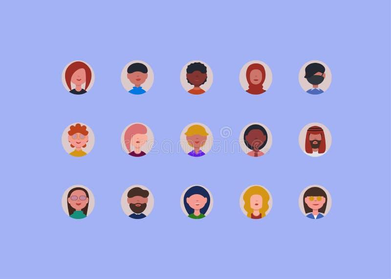 La gente hace frente a iconos alrededor de aislado libre illustration