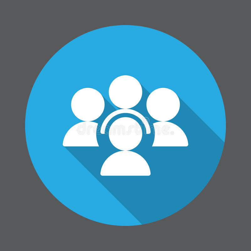 La gente, icona piana di conferenza Bottone variopinto rotondo, segno circolare di vettore con effetto ombra lungo royalty illustrazione gratis