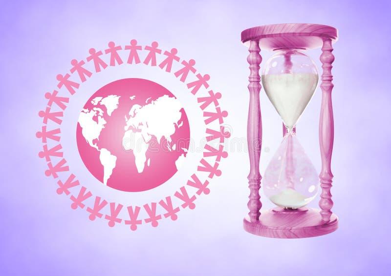 La gente insieme intorno all'illustrazione del mondo con il temporizzatore rosa dell'uovo che contiene sabbia contro il BAC porpo royalty illustrazione gratis