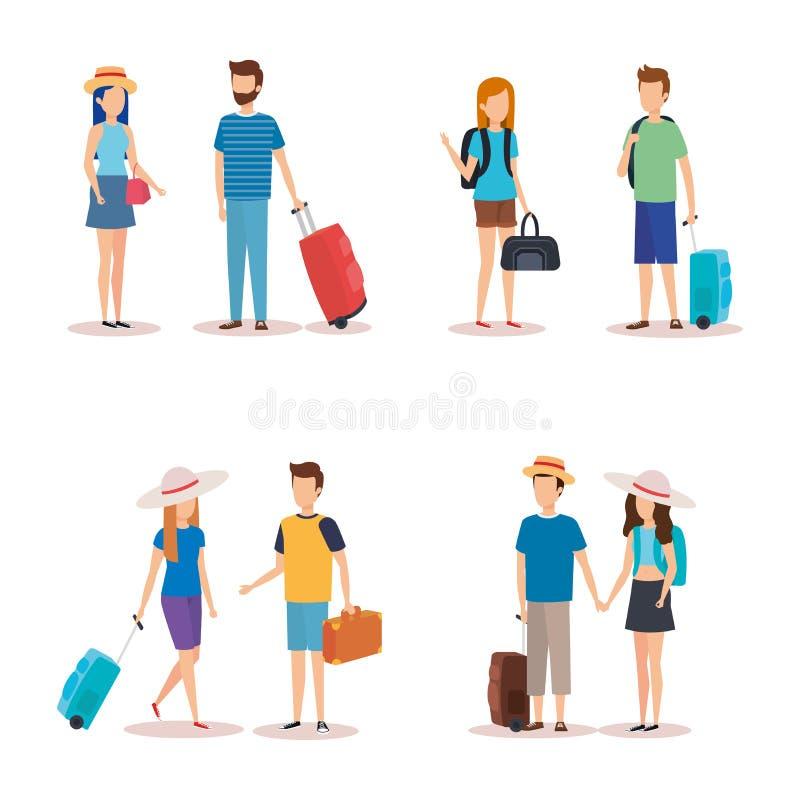 La gente isolata di viaggio progetta royalty illustrazione gratis