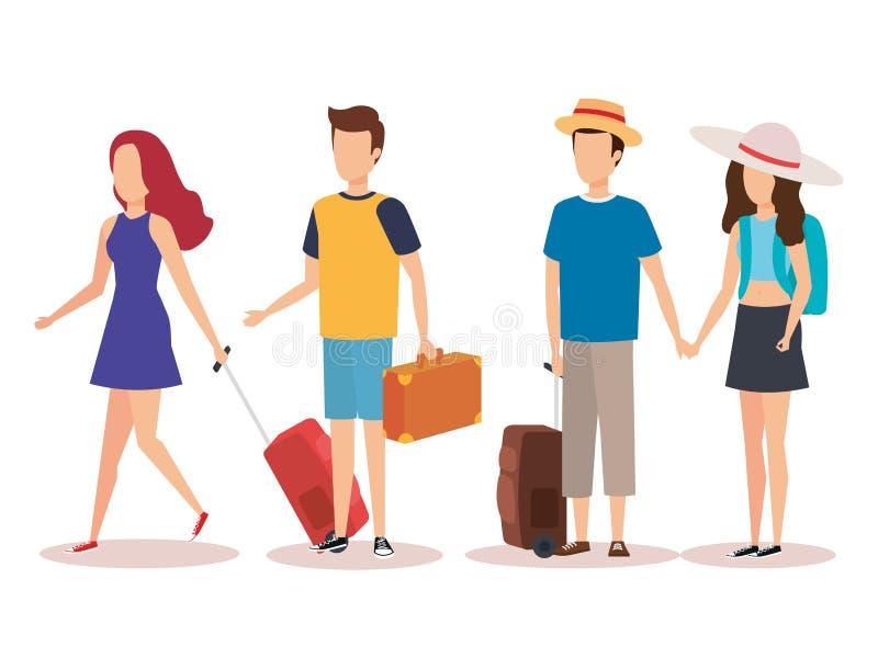 La gente isolata di viaggio progetta illustrazione di stock