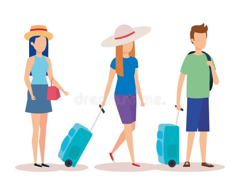 La gente isolata di viaggio progetta illustrazione vettoriale