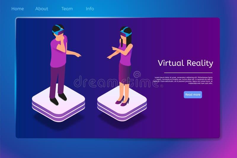 La gente isométrica utiliza los vidrios de la realidad virtual en 3d ilustración del vector