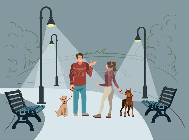 La gente joven camina en el parque con sus perros por la tarde en que las linternas encendidas ilustración del vector