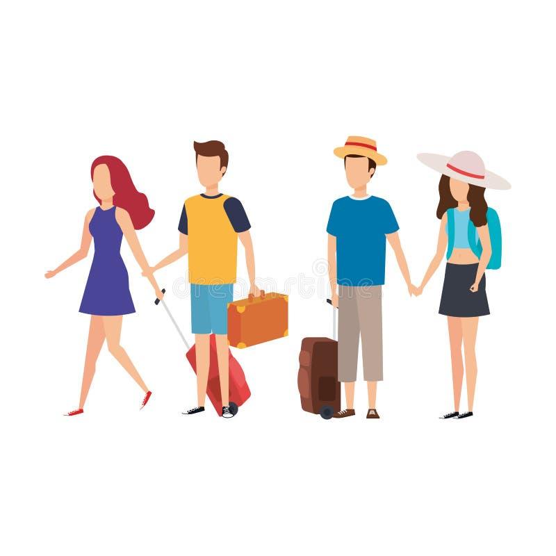 La gente joven con las maletas viaja ilustración del vector
