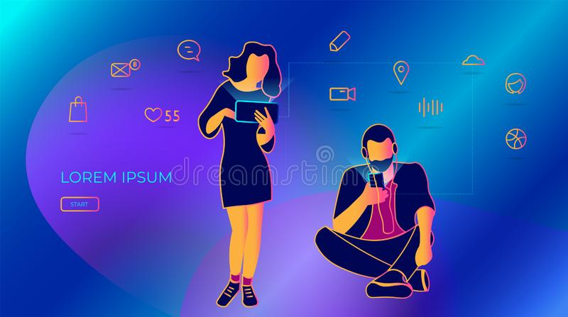 La gente joven escribe mensajes usando un smartphone ejemplo del vector de redes sociales, enviando mensajes del email y de texto stock de ilustración