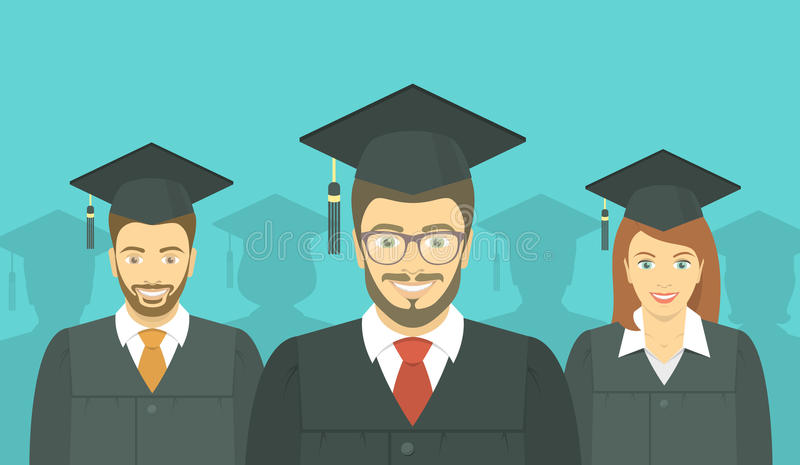 La gente joven graduó en vestidos y birretes de la graduación ilustración del vector
