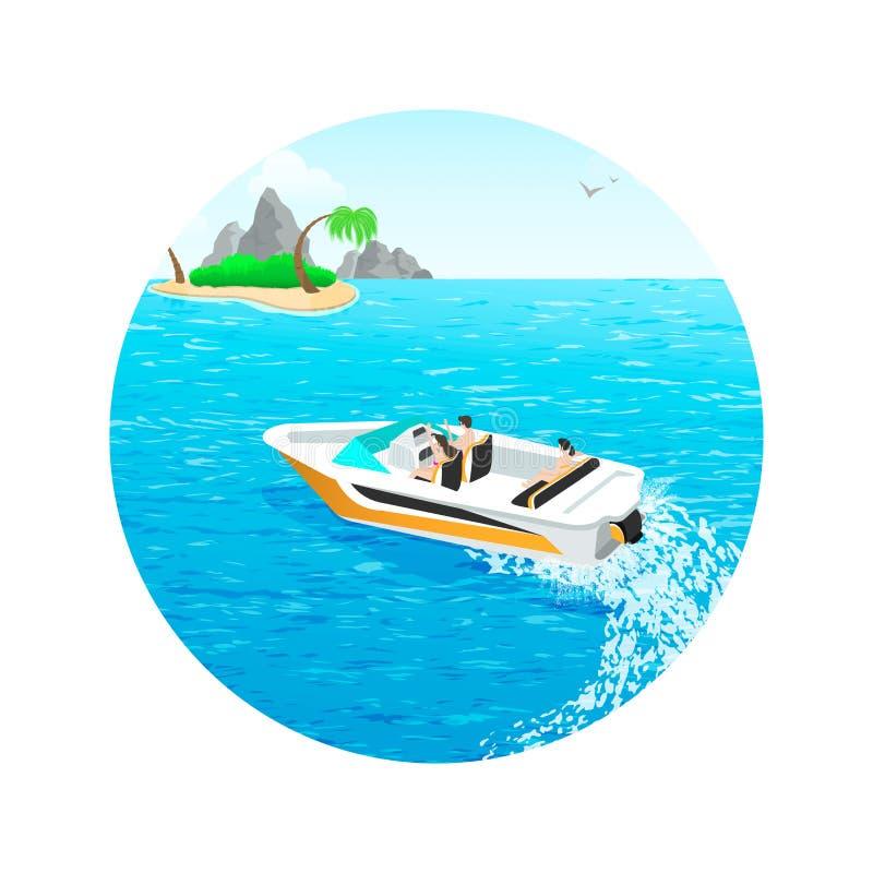 La gente joven monta un barco de motor de las islas libre illustration