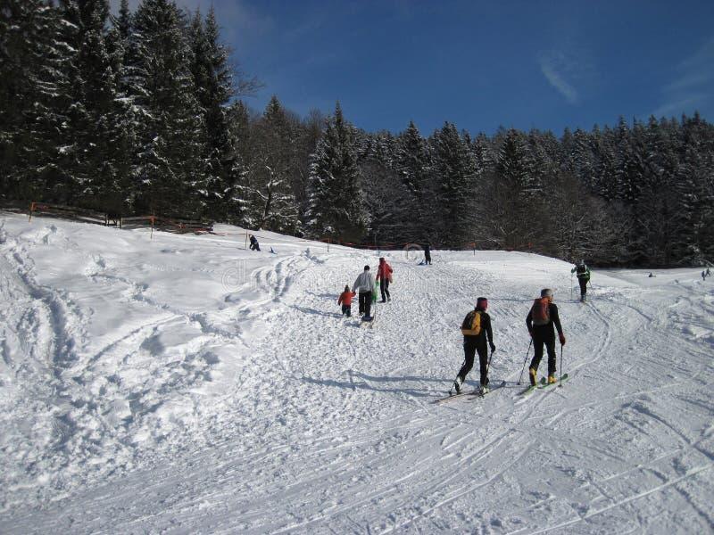 La gente joven que tarda un invierno camina, vista posterior imagenes de archivo