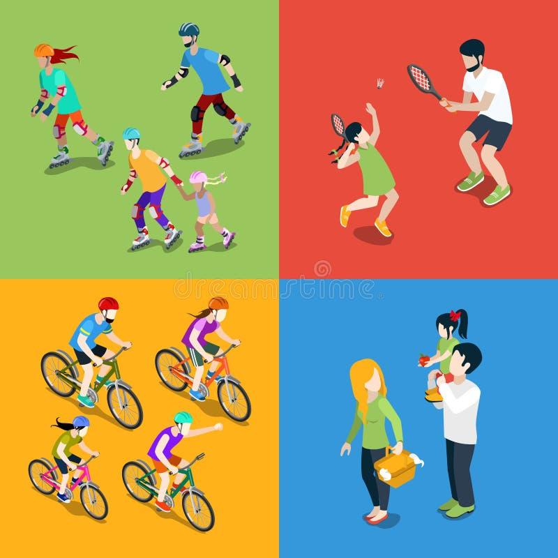 La gente joven urbana de la familia parents outdoo del parenting libre illustration