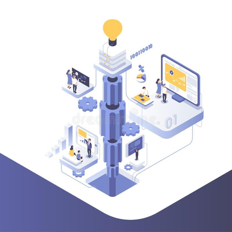 La gente lavora in un gruppo e raggiunge lo scopo Concetto Startup Lanci un nuovo prodotto su un mercato Illustrazione isometrica illustrazione vettoriale